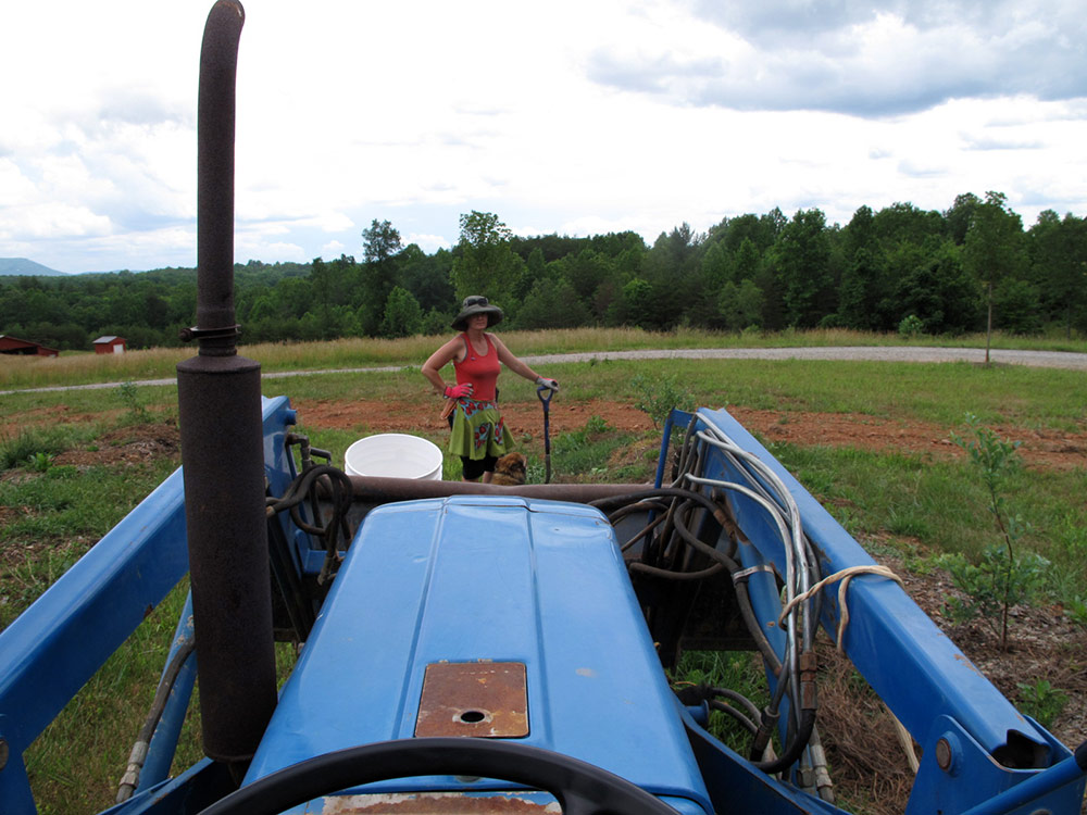 AJ faces off with the blue tractor.